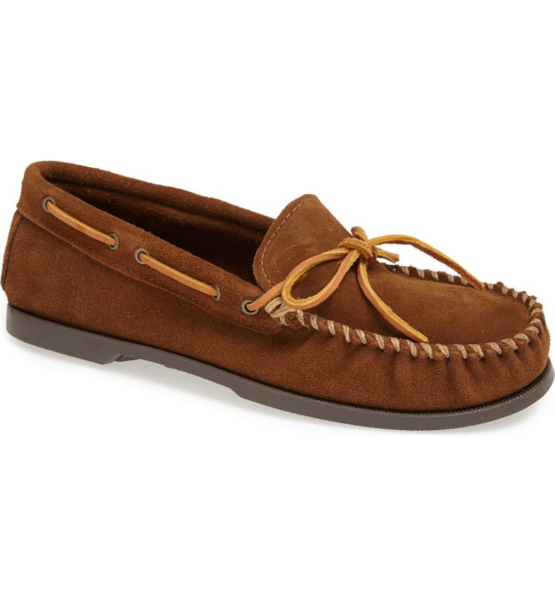 MINNETONKA Leather Camp Moccasin, Main, color, DUSTY BROWN