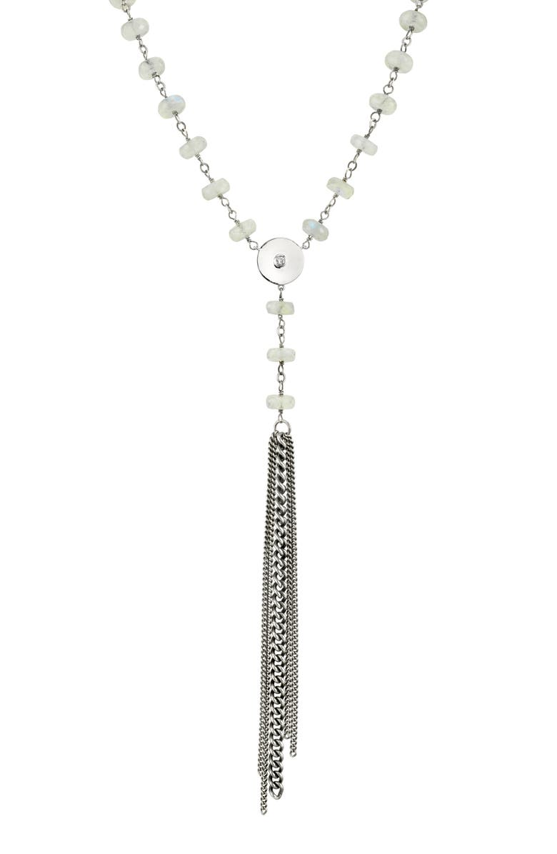 SHERYL LOWE Moonstone & Diamond Tassel Y-Necklace, Main, color, MOONSTONE