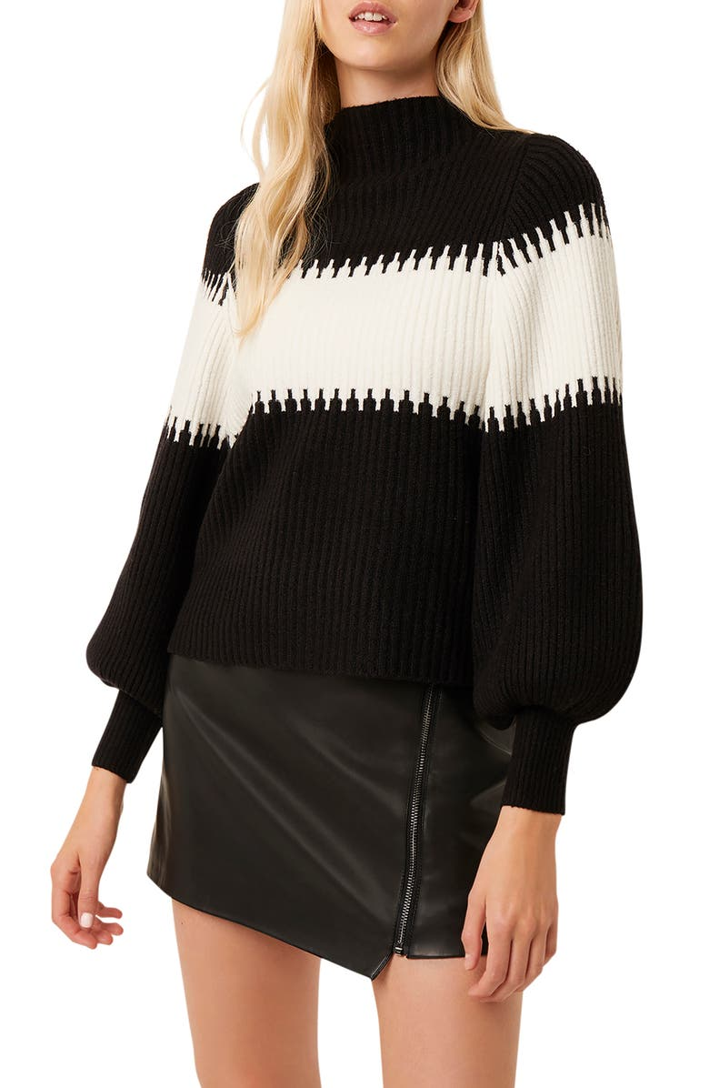 FRENCH CONNECTION Sophia Colorblock Blouson Sleeve Sweater, Main, color, 002