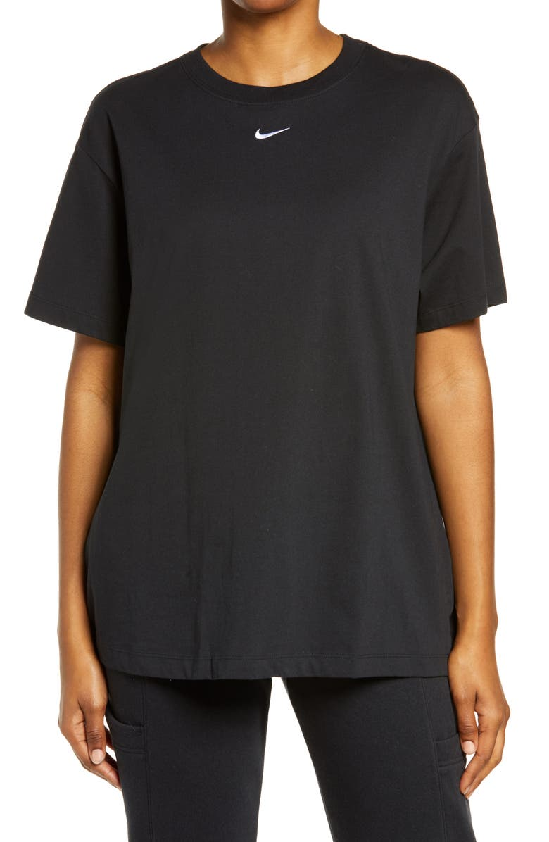NIKE Essential Embroidered Swoosh Cotton T-Shirt, Main, color, BLACK/ WHITE