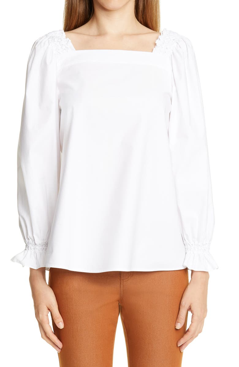 LAFAYETTE 148 NEW YORK Bevins Smocked Detail Blouse, Main, color, WHITE