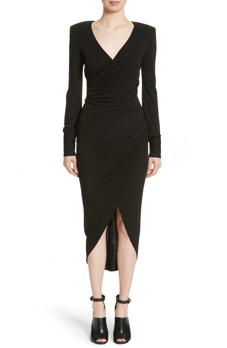 MICHAEL KORS Long Sleeve Jersey Body-Con Midi Dress, Main, color, 001