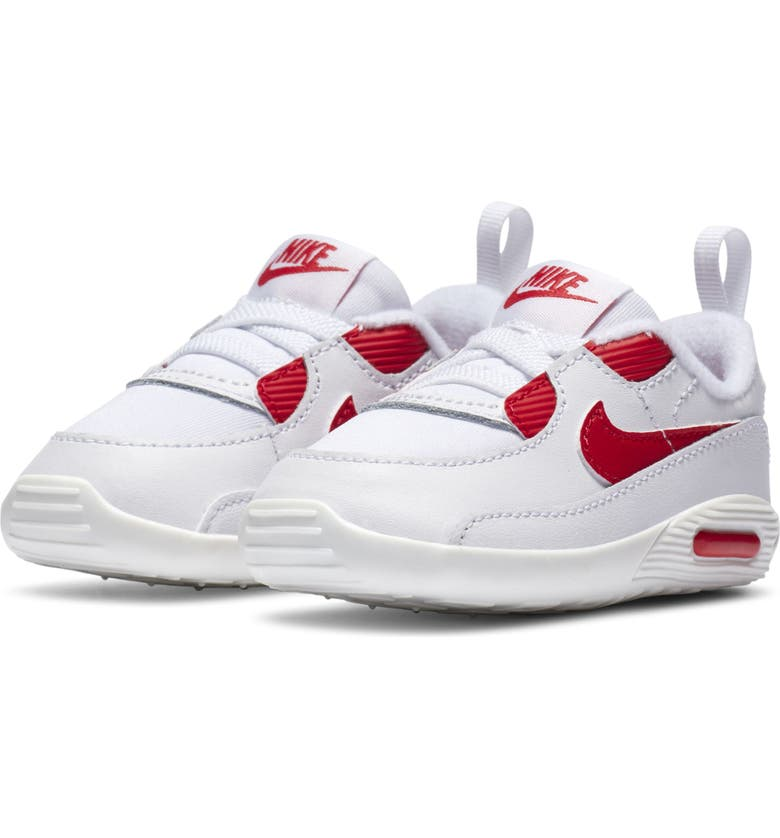 NIKE Air Max 90 Crib Sneaker, Main, color, WHITE/ HYPER RED