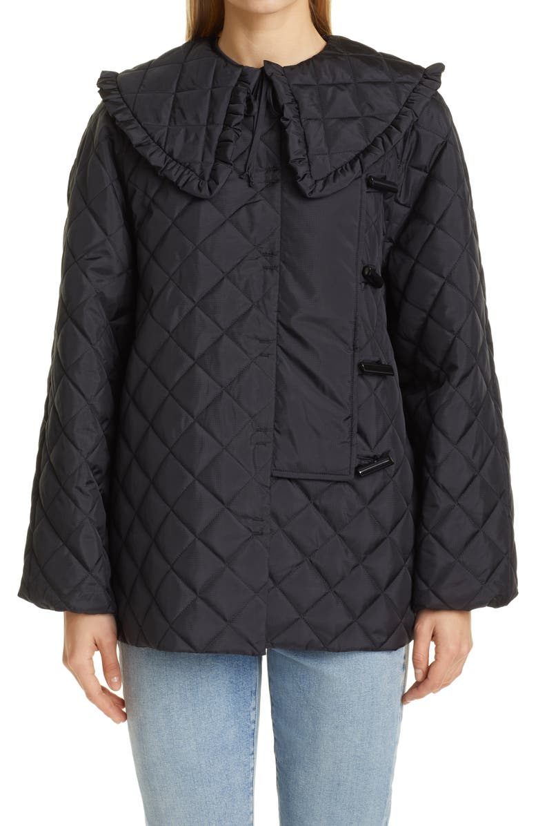 GANNI Quilted Recycled Ripstop Jacket with Removable Ruffle Collar, Main, color, BLACK