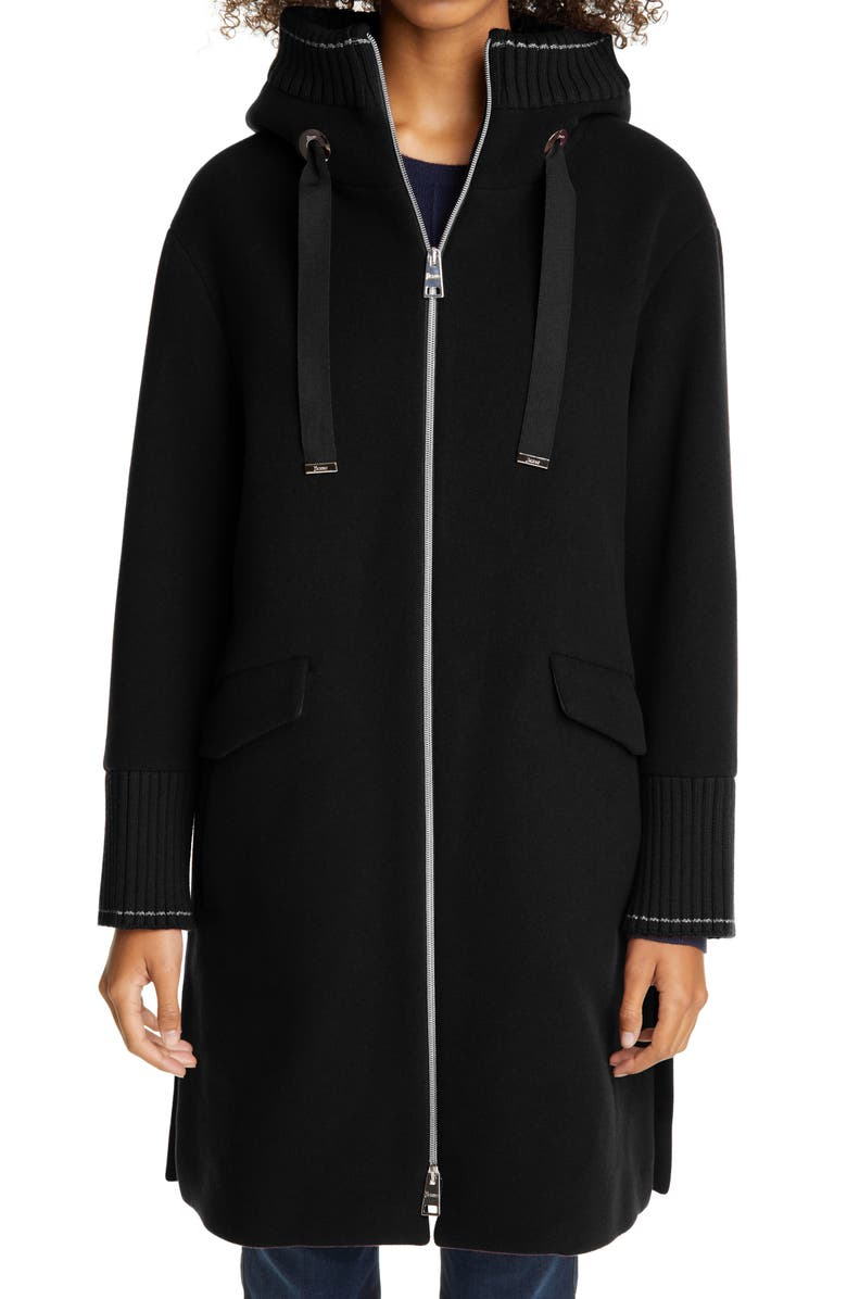HERNO Hooded Long Wool Blend Coat, Main, color, BLACK
