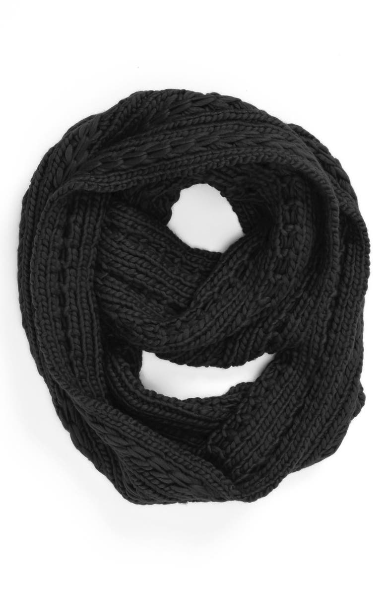 LULU Cable Knit Infinity Scarf, Main, color, 001