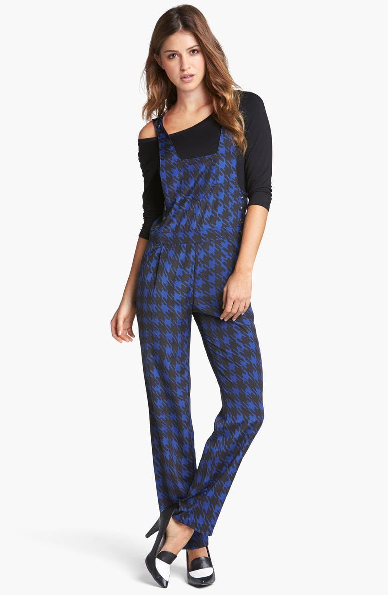 WAYF Houndstooth Print Overalls, Main, color, NAVY/ BLACK