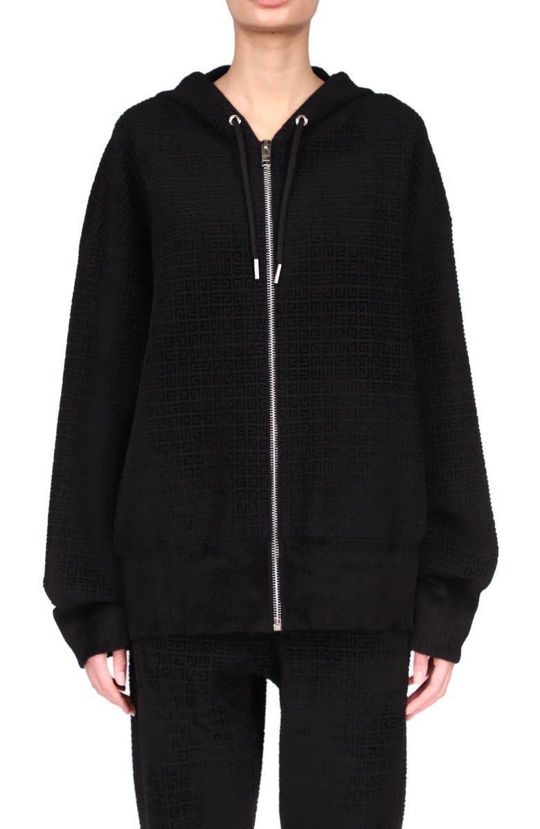 GIVENCHY Logo Knit Hoodie, Main, color, BLACK