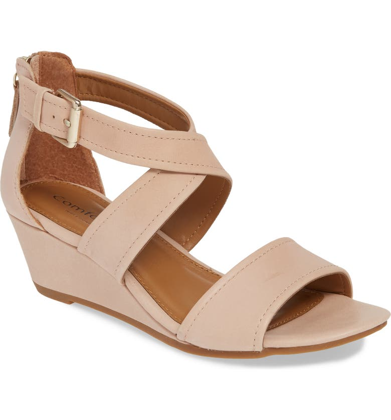 COMFORTIVA Rabea Wedge Sandal, Main, color, ROSE WATER LEATHER