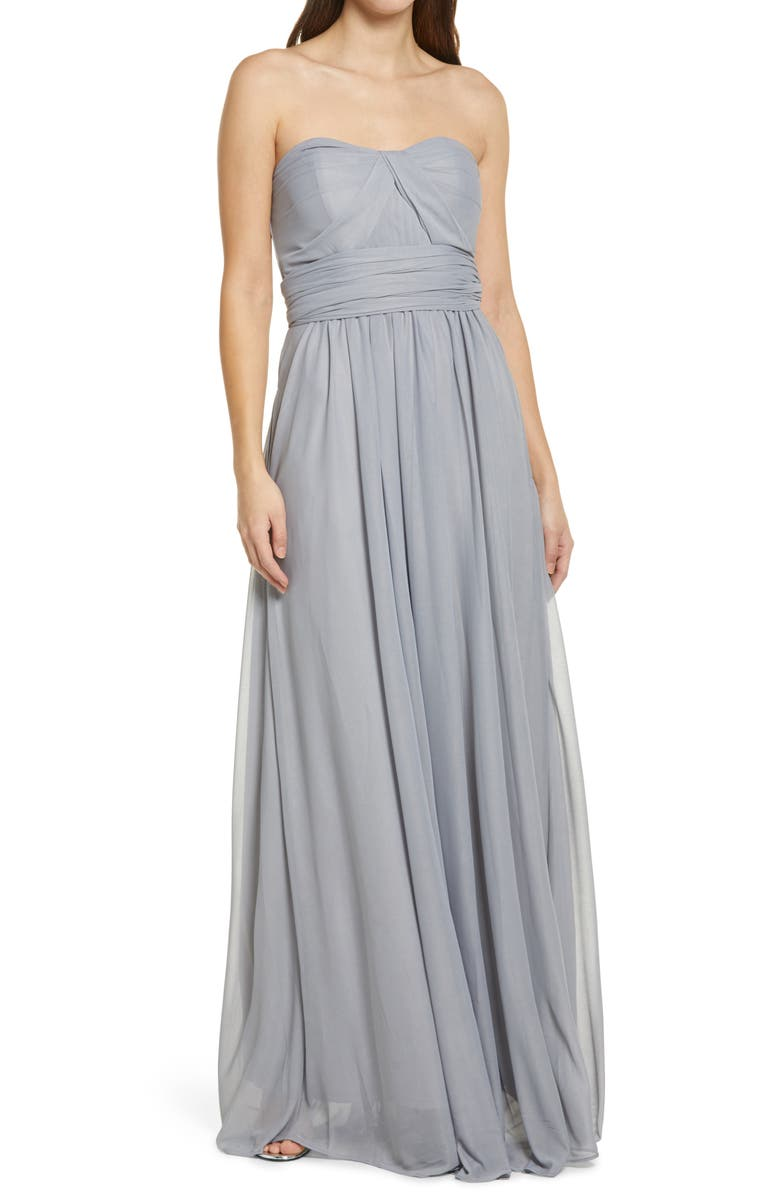 BIRDY GREY Chicky Convertible Neck Tulle Gown, Main, color, 040