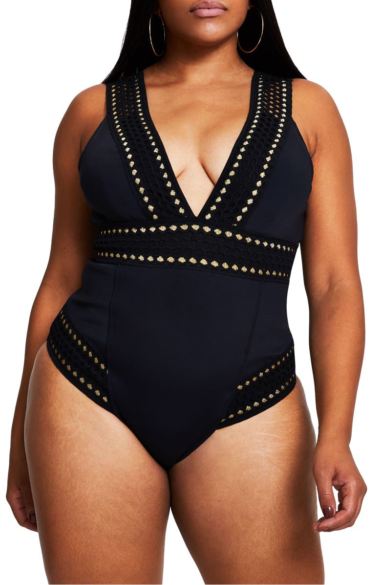 RIVER ISLAND Plunge Neck Embroidered Metallic One-Piece Swimsuit, Main, color, BLACK