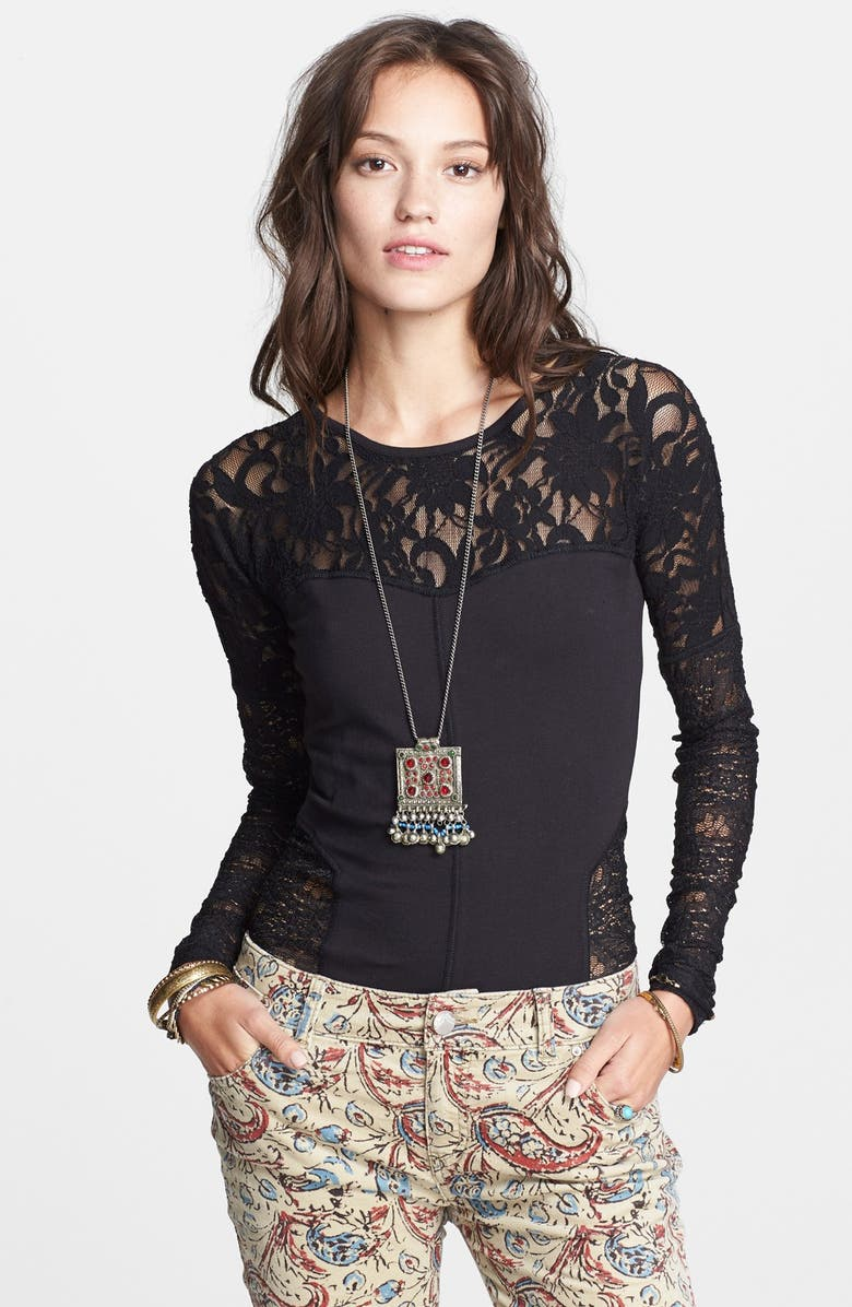 FREE PEOPLE 'Sweet Thang' Lace Top, Main, color, BLACK