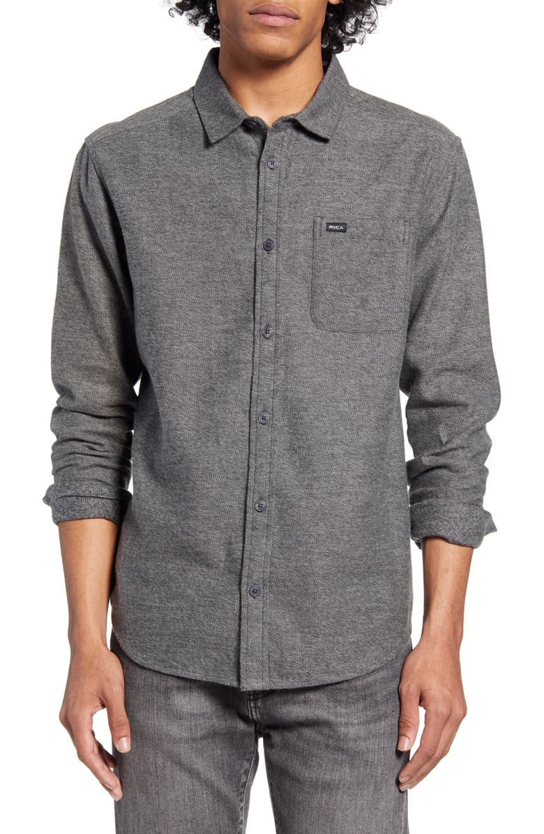 RVCA Sand Button-Up Flannel Shirt, Main, color, 001