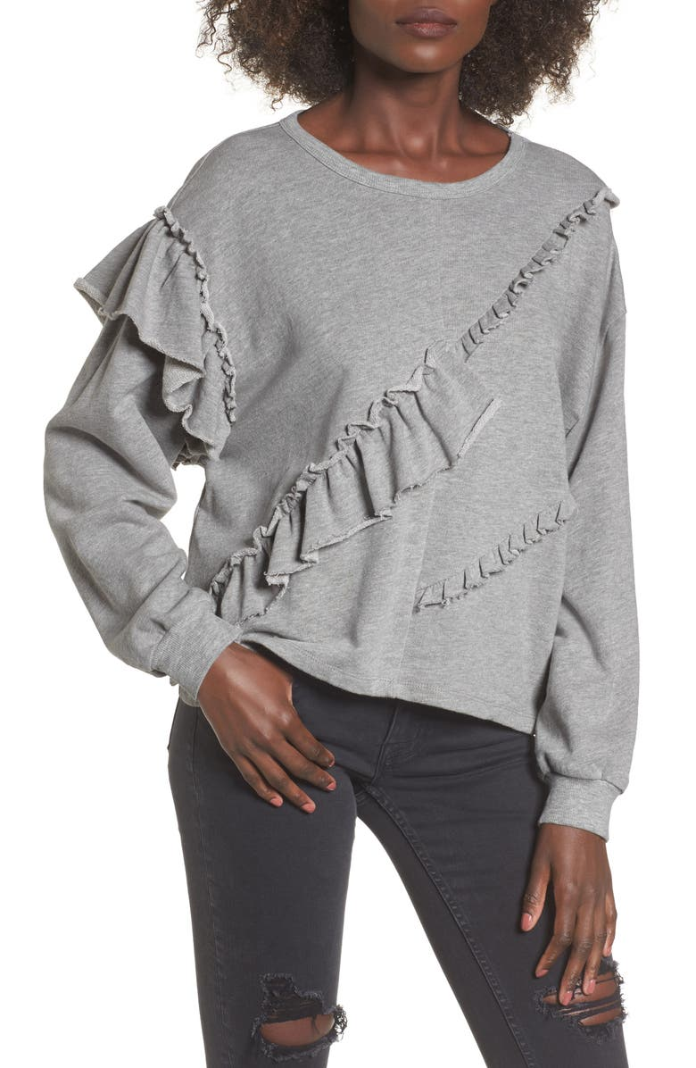 ELODIE Asymmetric Ruffle Sweatshirt, Main, color, 051