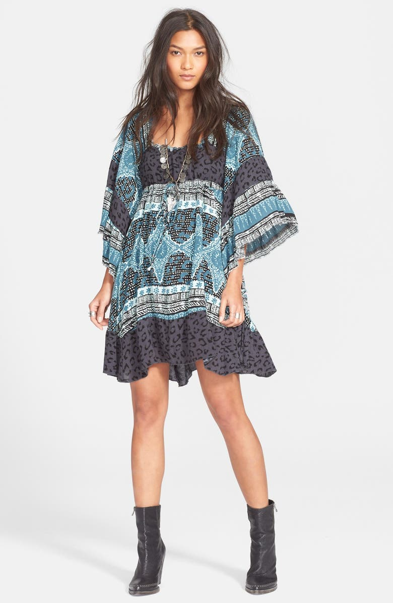FREE PEOPLE 'Hearts of Gold' Babydoll Dress, Main, color, CHARCOAL COMBO