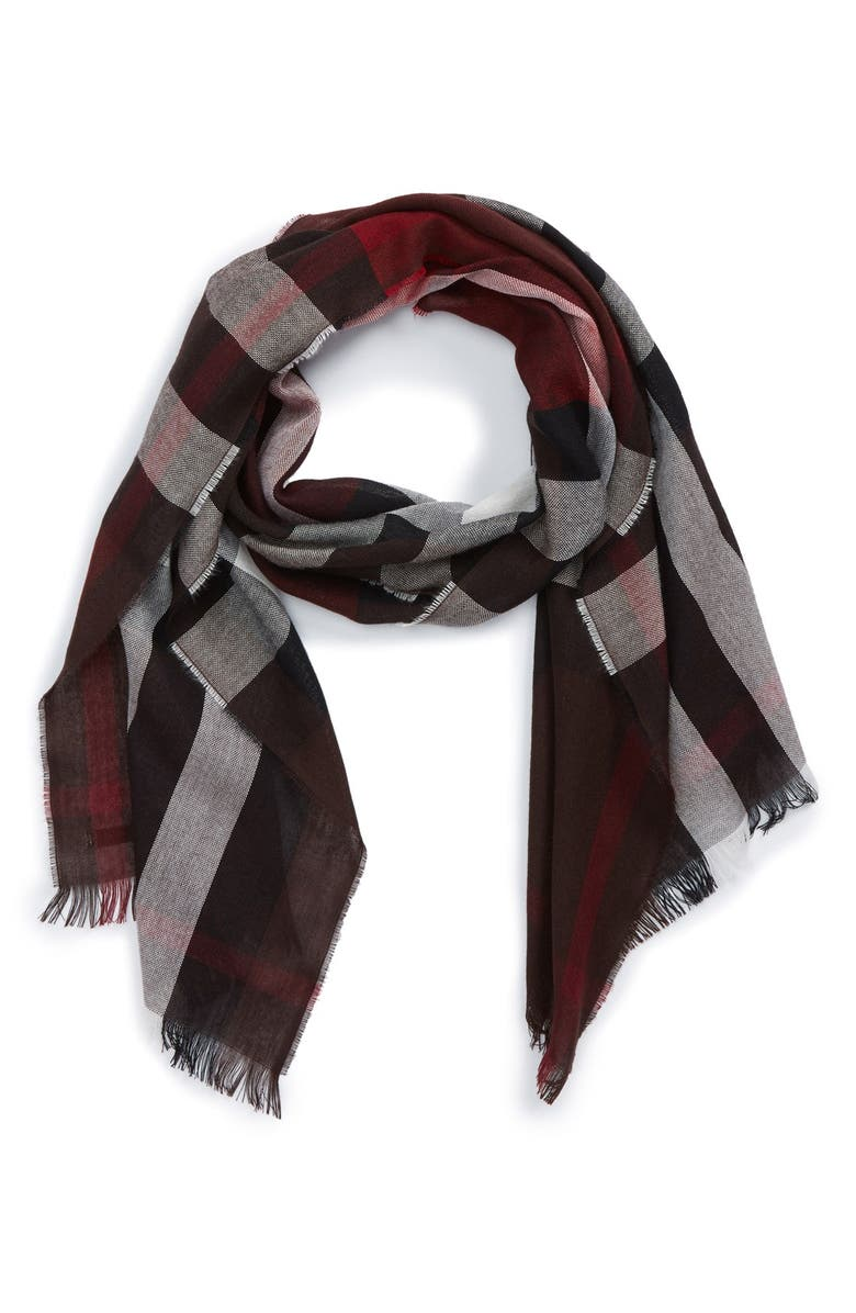 BURBERRY Check Wool & Cashmere Scarf, Main, color, CLARET