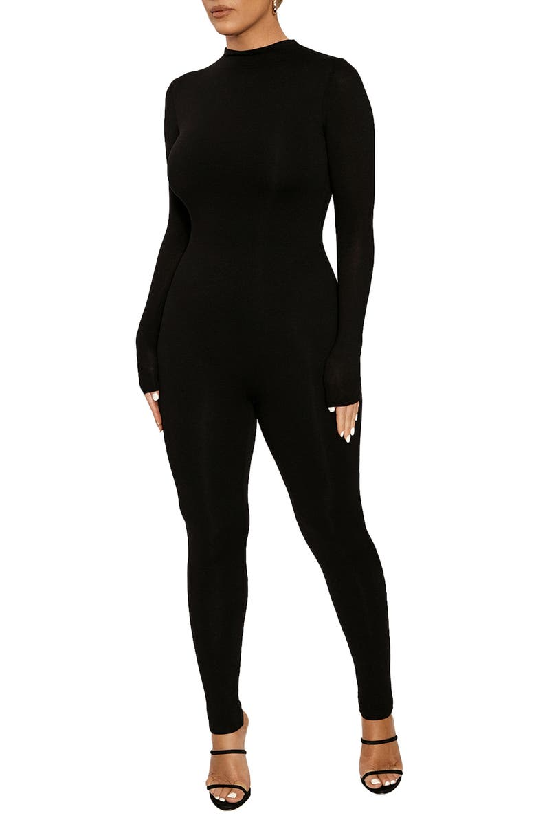 NAKED WARDROBE Long Sleeve Jumpsuit, Main, color, 001