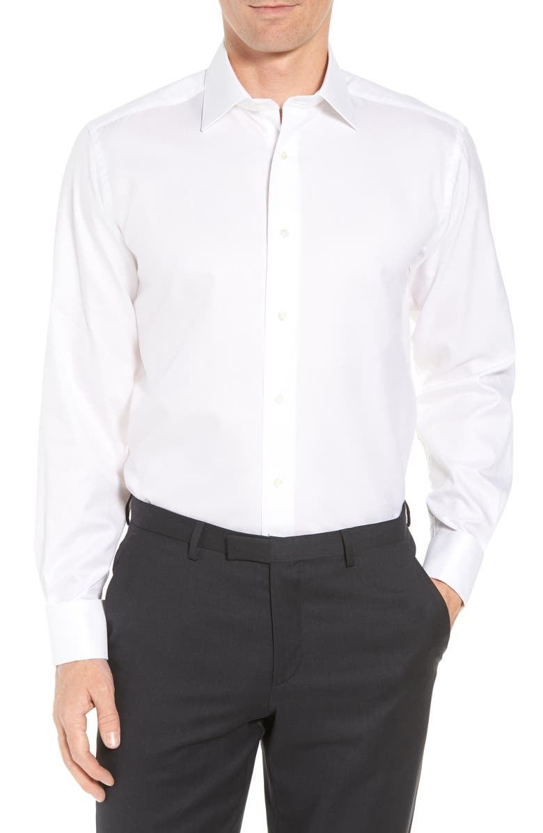 DAVID DONAHUE Regular Fit Solid French Cuff Tuxedo Shirt, Main, color, WHITE / WHITE
