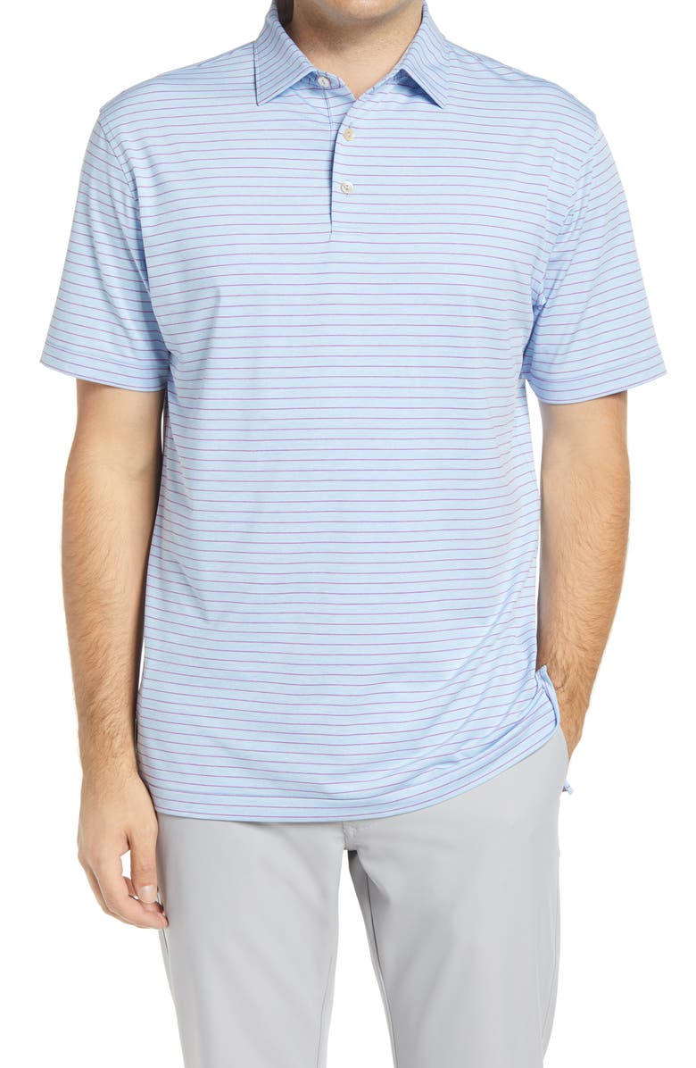 PETER MILLAR Crafty Stripe Short Sleeve Performance Polo, Main, color, COTTAGE BLUE