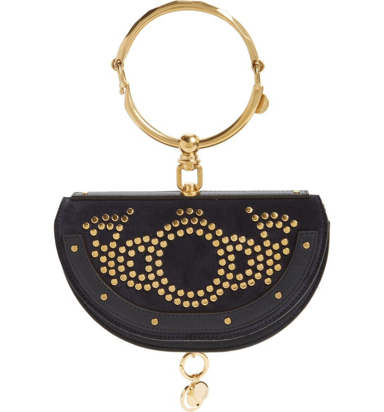 CHLOÉ Small Nile Studded Suede & Leather Convertible Bag, Main, color, 412