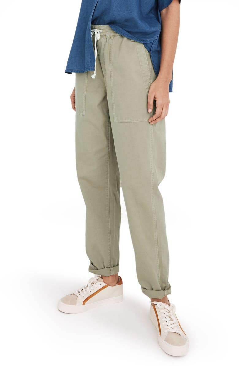MADEWELL Relaxed Pull-On Pants, Main, color, ASH GREEN