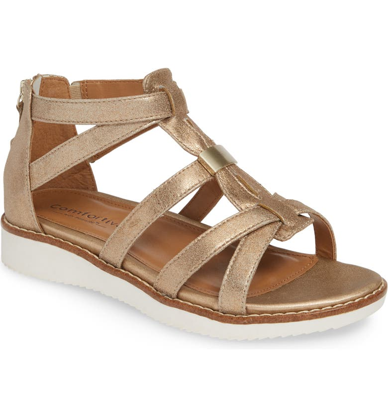 COMFORTIVA Wyola Sandal, Main, color, GOLD LEATHER