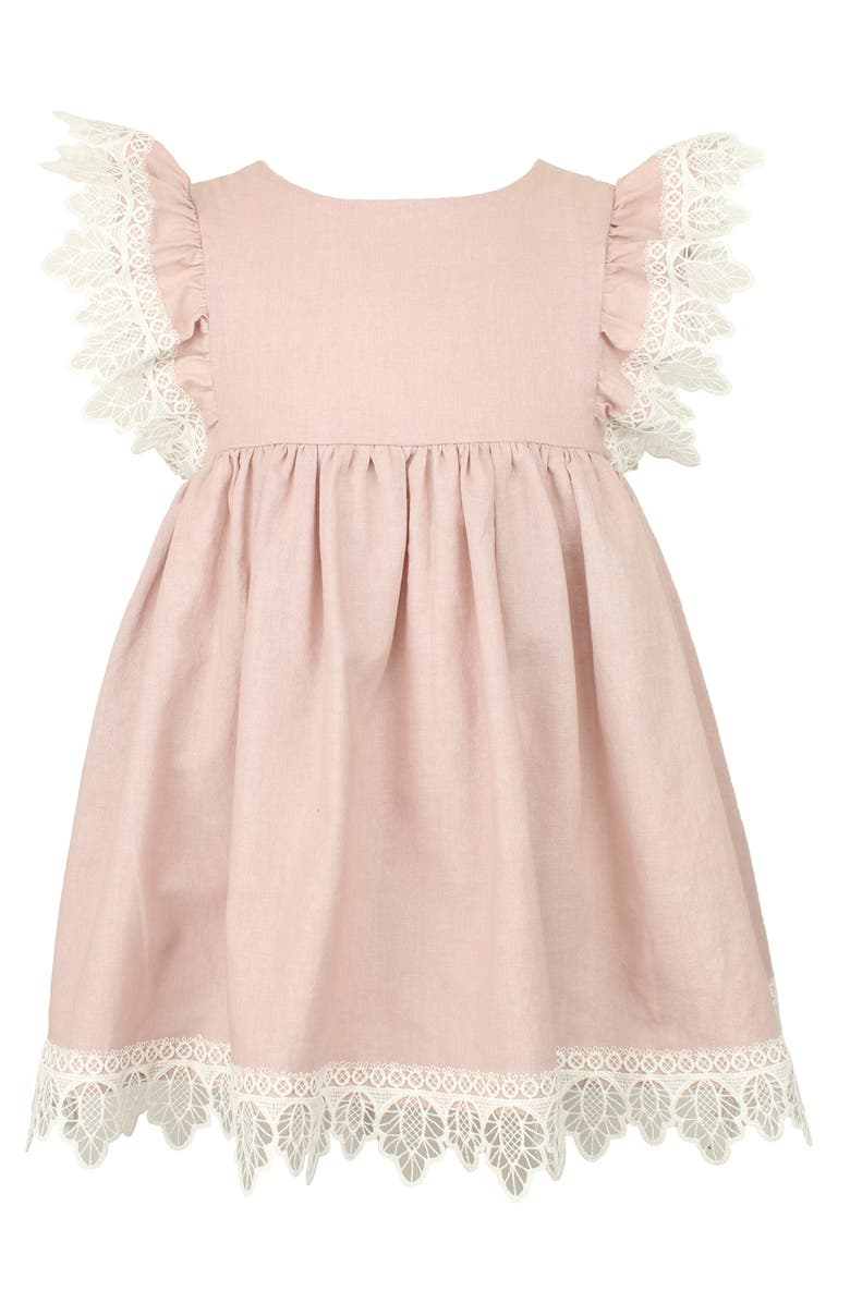 POPATU Flutter Sleeve Lace Trim Dress, Main, color, DUSTY PINK