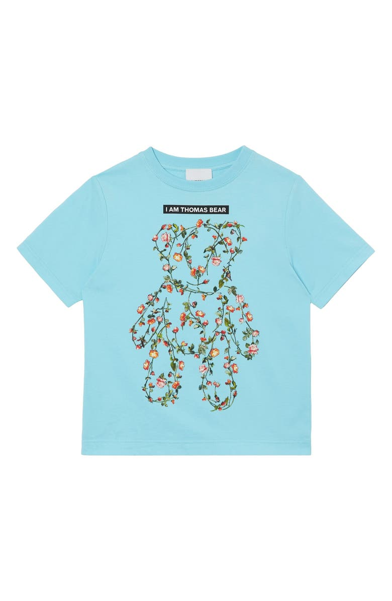 BURBERRY Kids' Floral Thomas Bear Print Graphic Tee, Main, color, PALE TURQUOISE