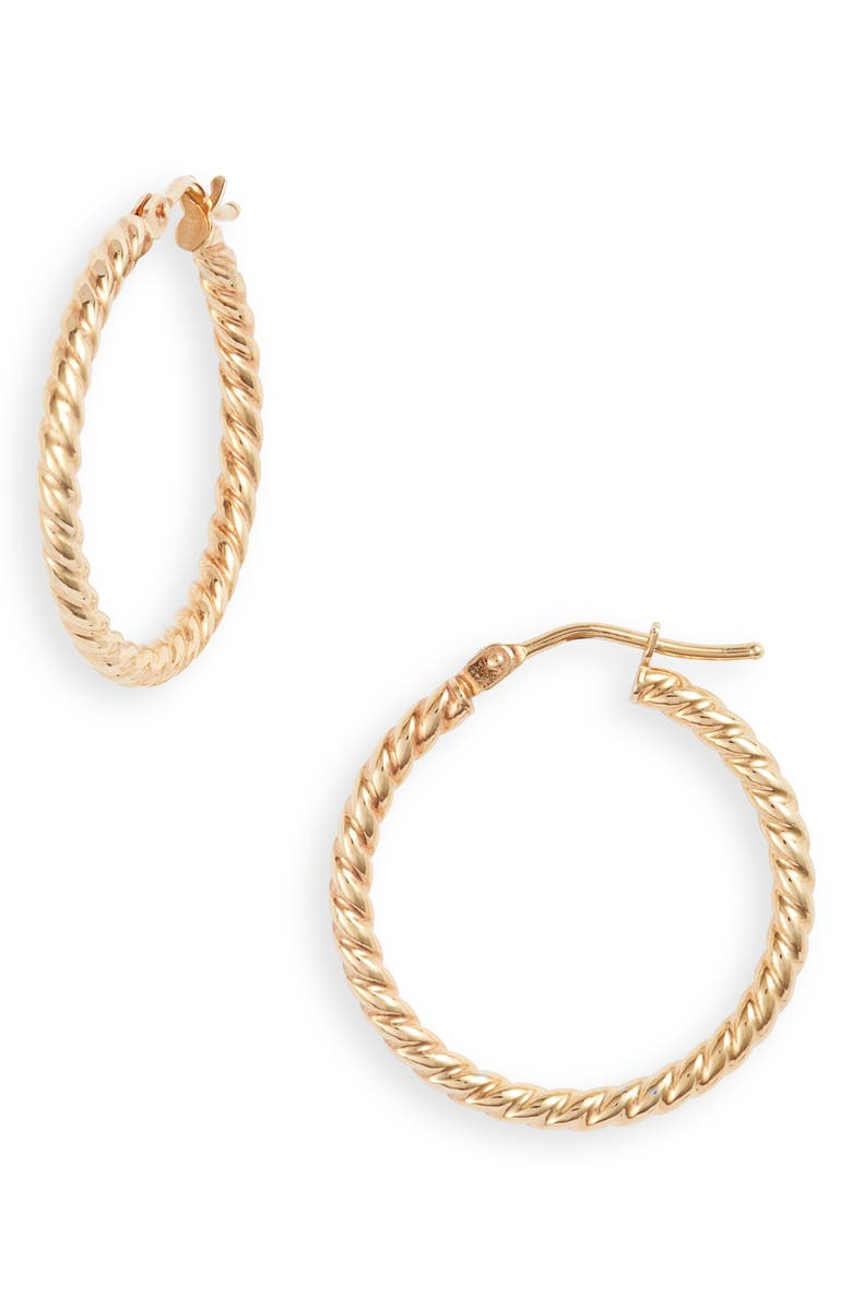 BONY LEVY 14K Gold Texture Swirl Hoop Earrings, Main, color, YELLOW GOLD
