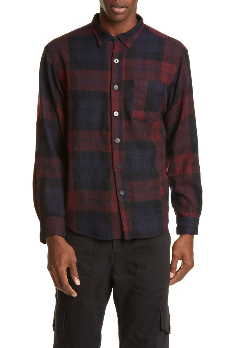 BILLY LOS ANGELES Plaid Button-Up Wool Flannel Shirt, Main, color, 001