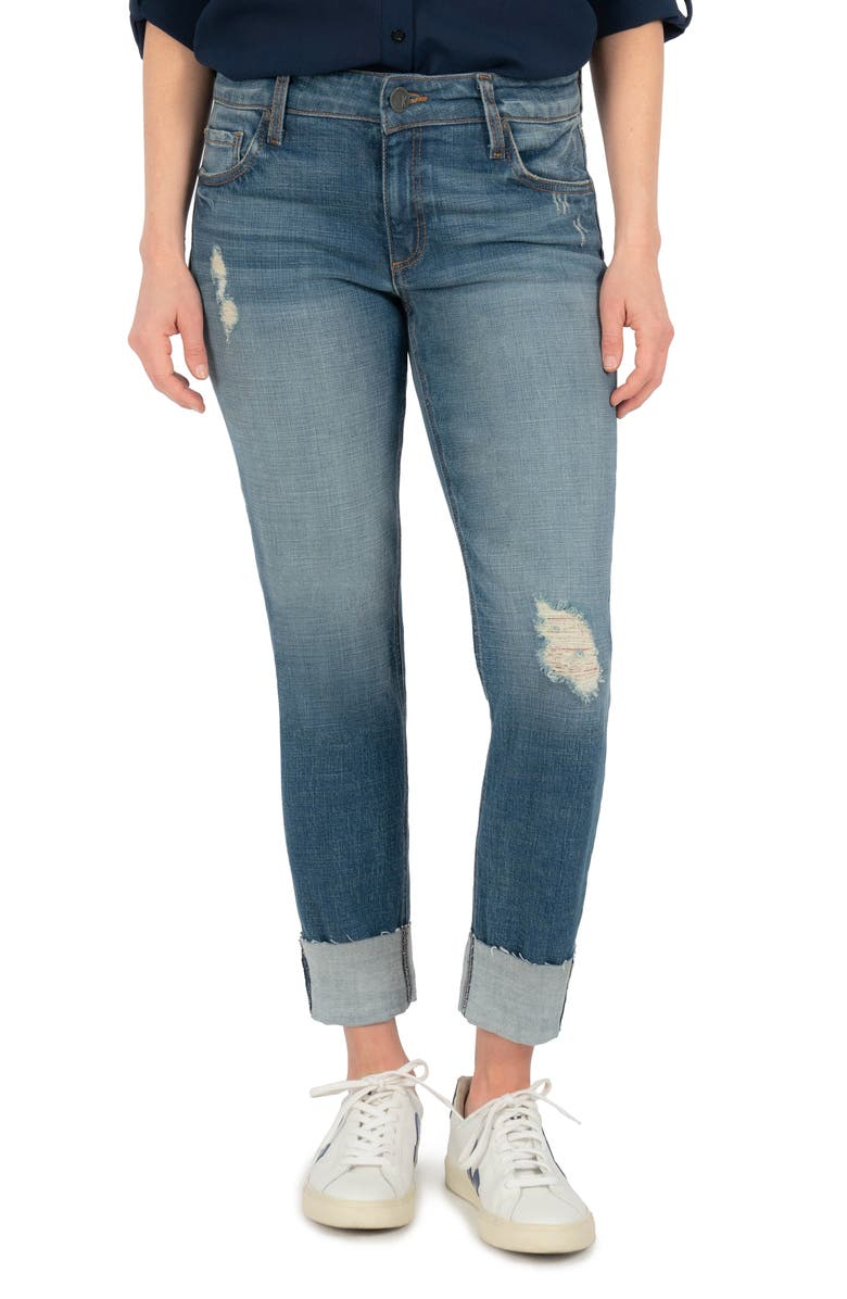 KUT FROM THE KLOTH Catherine Ripped Cuff Boyfriend Jeans, Main, color, PROVE