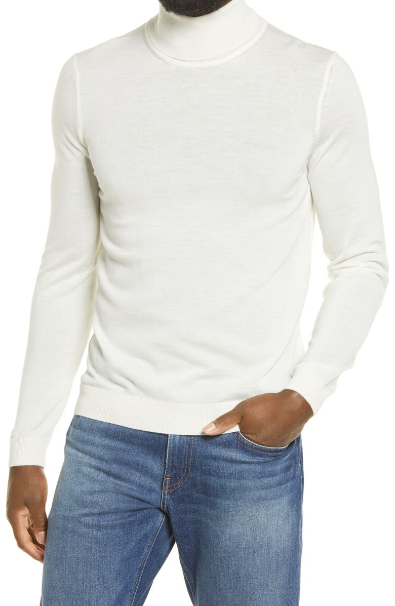 BOSS Musso Virgin Wool Turtleneck Sweater, Main, color, WHITE