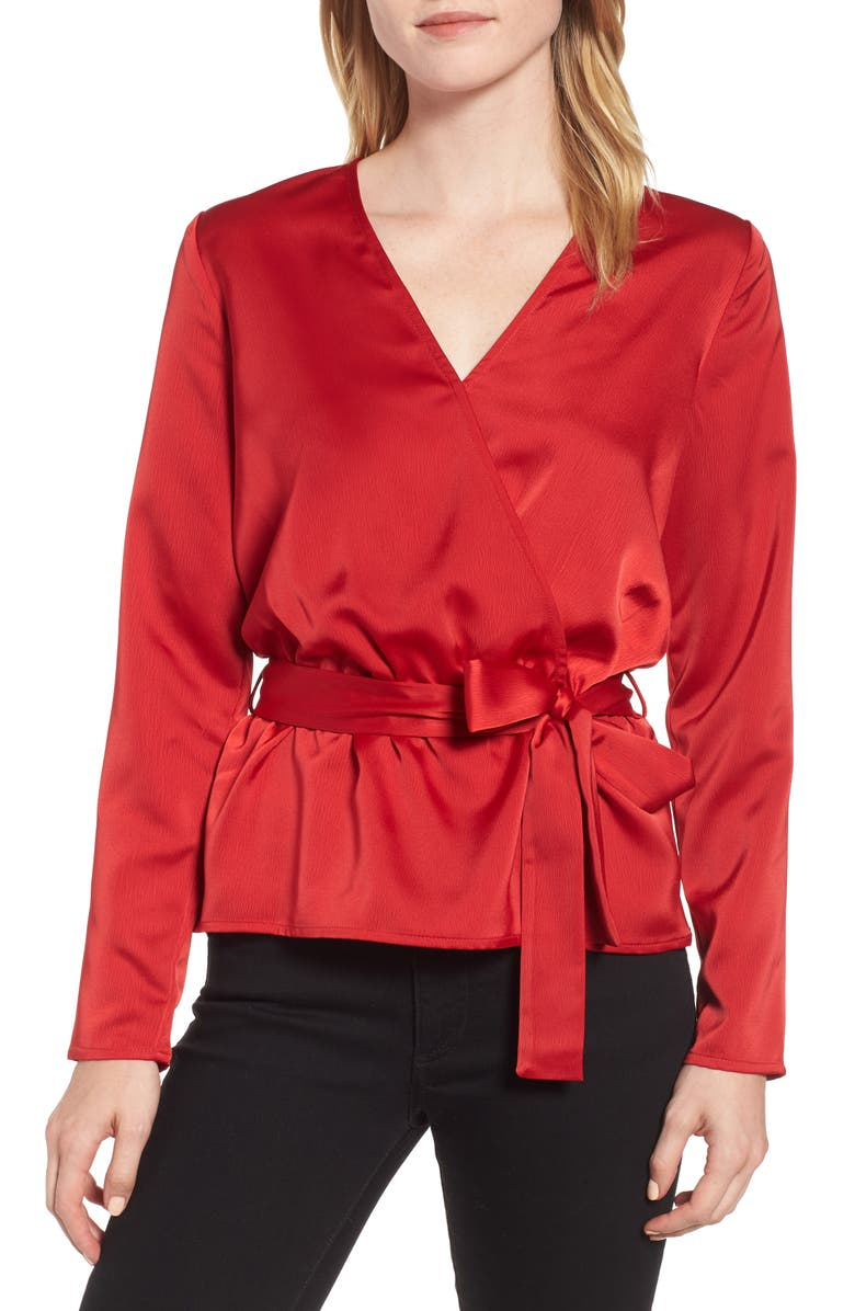 GIBSONLOOK Gibson x Glam Squad Faux Wrap Top, Main, color, RED