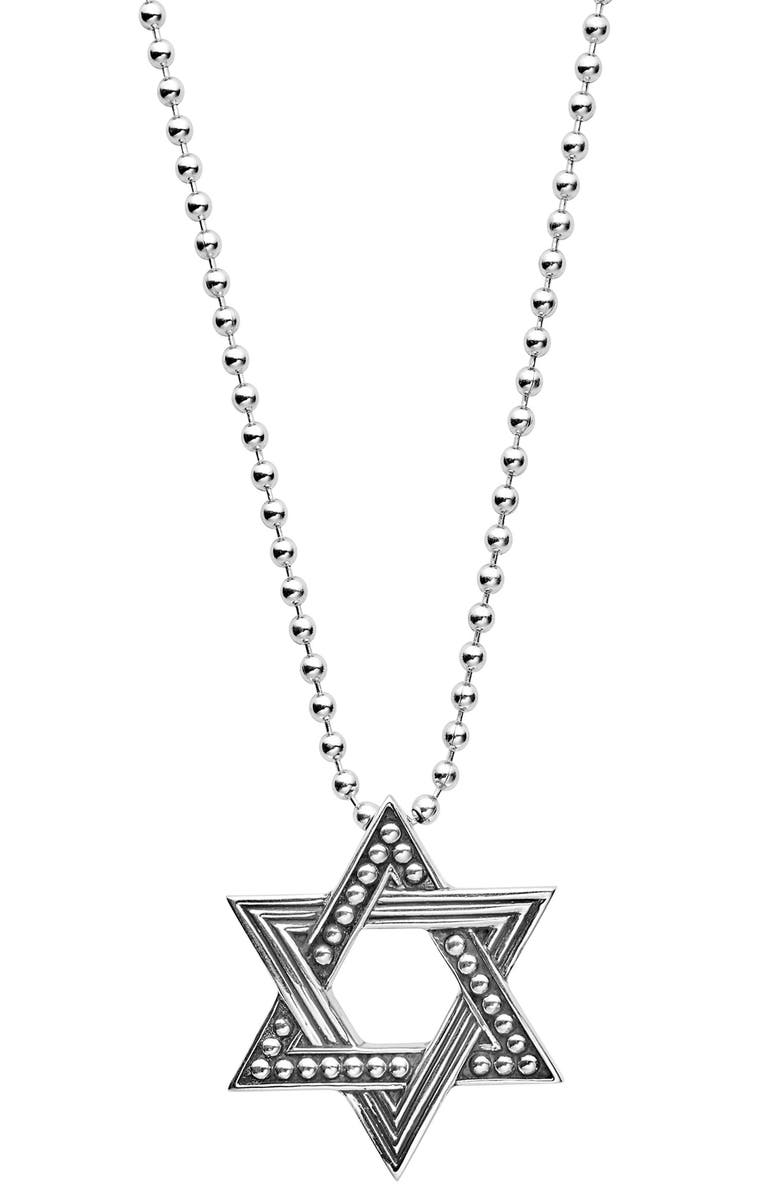 LAGOS Signature Caviar Star of David Pendant Necklace, Main, color, SILVER