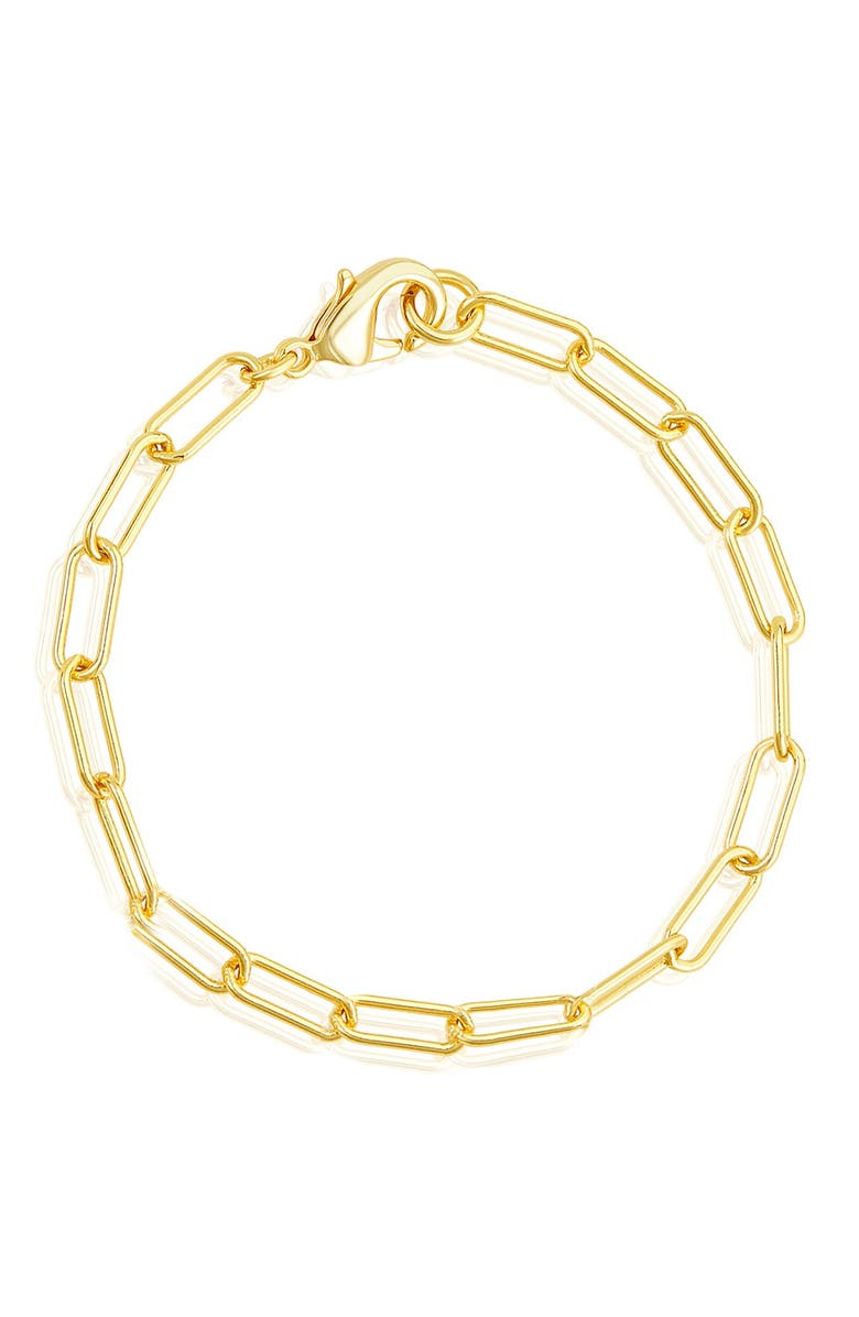 ADORNIA 14K Gold Plated Paper Clip Chain Bracelet, Main, color, YELLOW