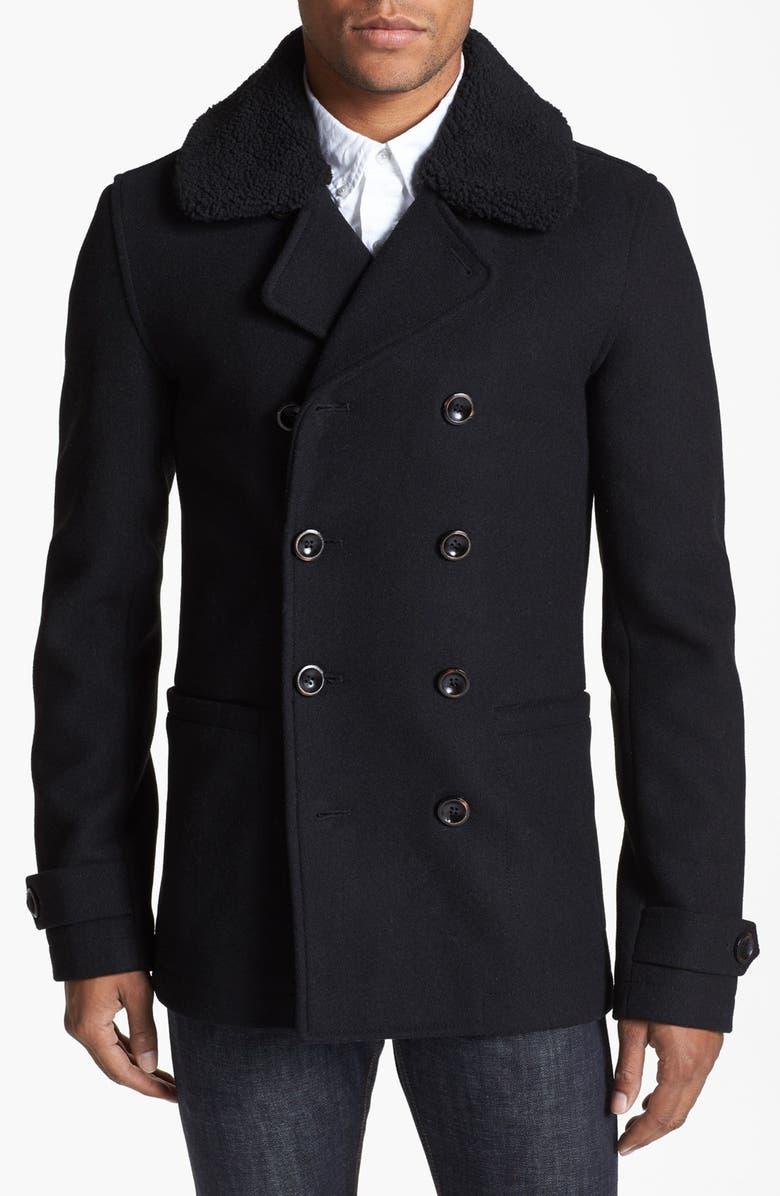 TOPMAN Skinny Fit Double Breasted Peacoat, Main, color, 001
