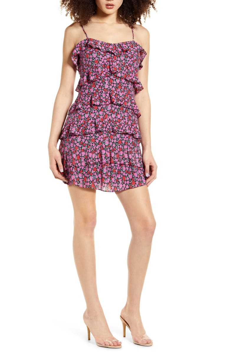 4SI3NNA Floral Ruffle Tiered Minidress, Main, color, 008
