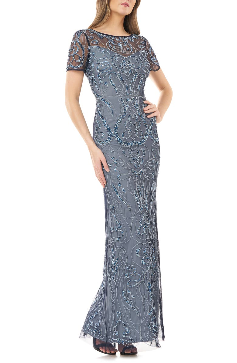 JS COLLECTIONS Sequin Embroidered Column Gown, Main, color, ICE BLUE MULTI