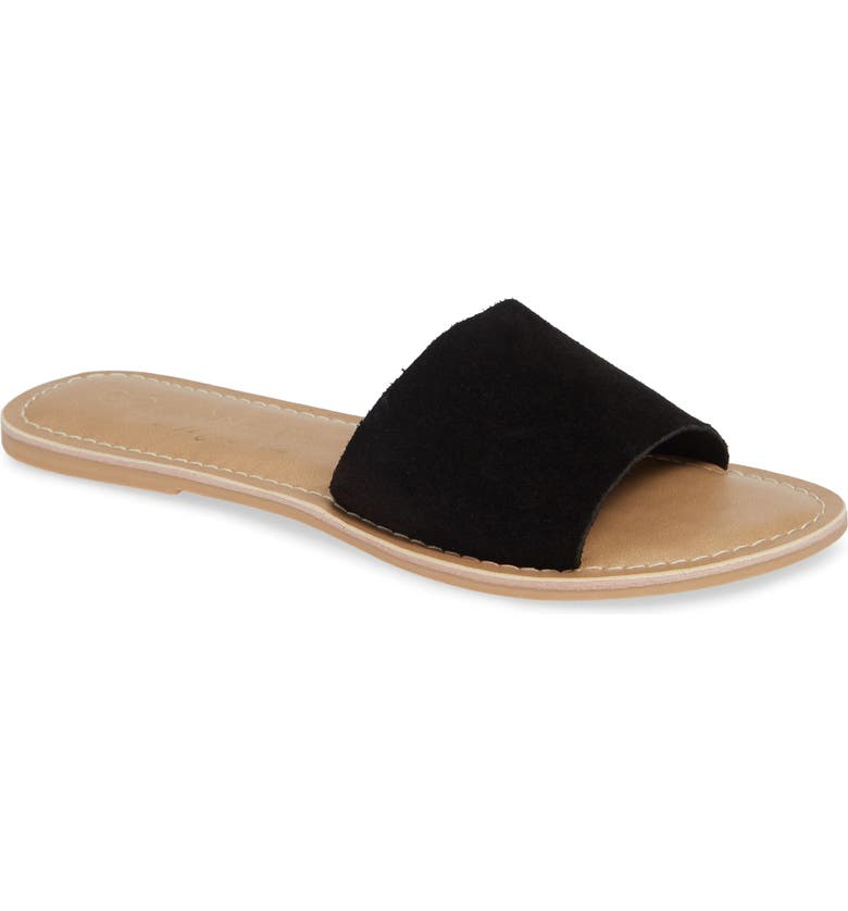 BEACH BY MATISSE Coconuts by Matisse Cabana Slide Sandal, Main, color, BLACK SUEDE