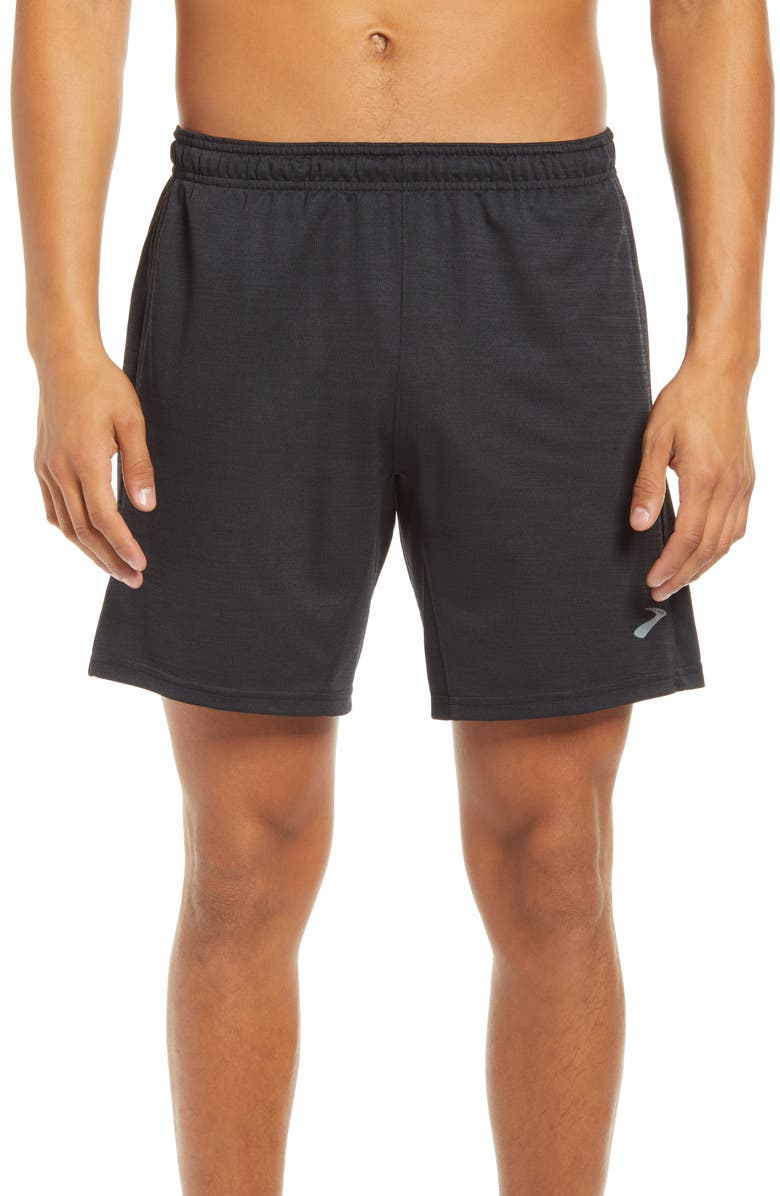 "BROOKS Rep Men's 8"" Performance Athletic Shorts, Main, color, HEATHER BLACK"