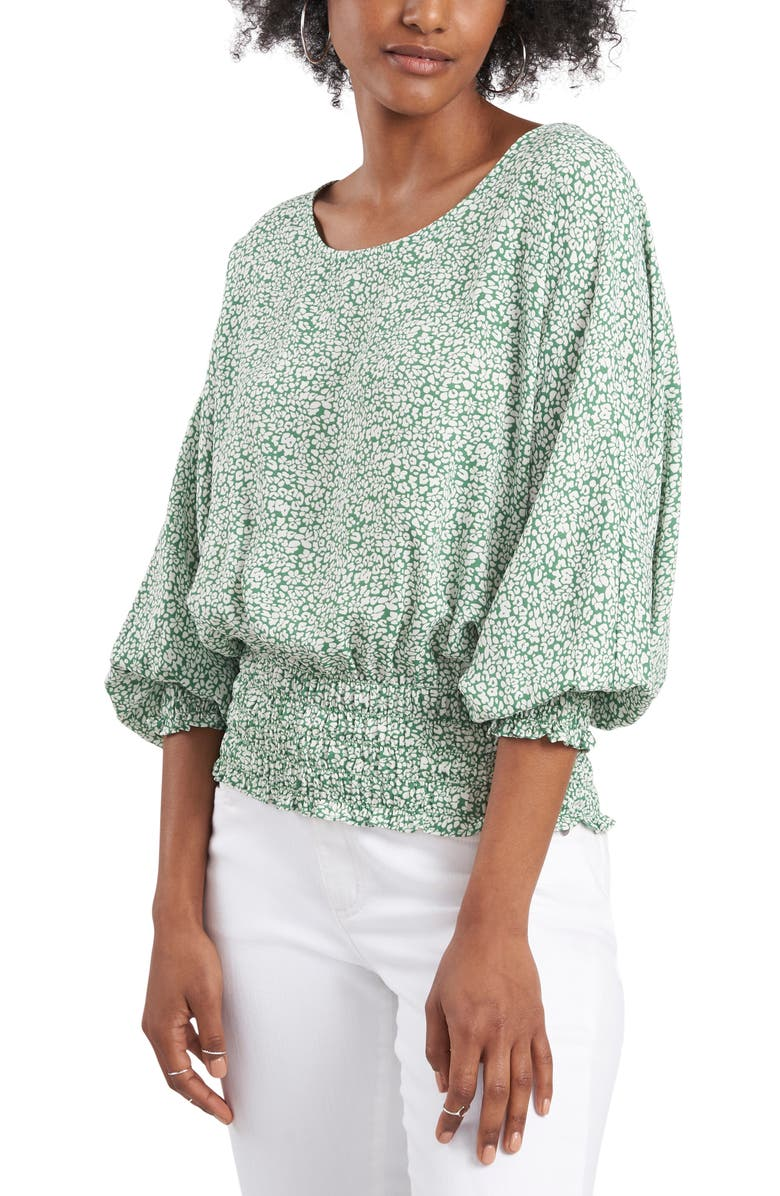 VINCE CAMUTO Smocked Top, Main, color, ALPINE GROVE