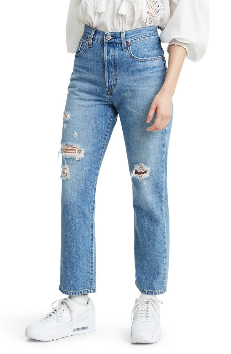 LEVI'S<SUP>®</SUP> 501<sup>®</sup> Ripped High Waist Crop Straight Leg Jeans, Main, color, SANSOME LIGHT