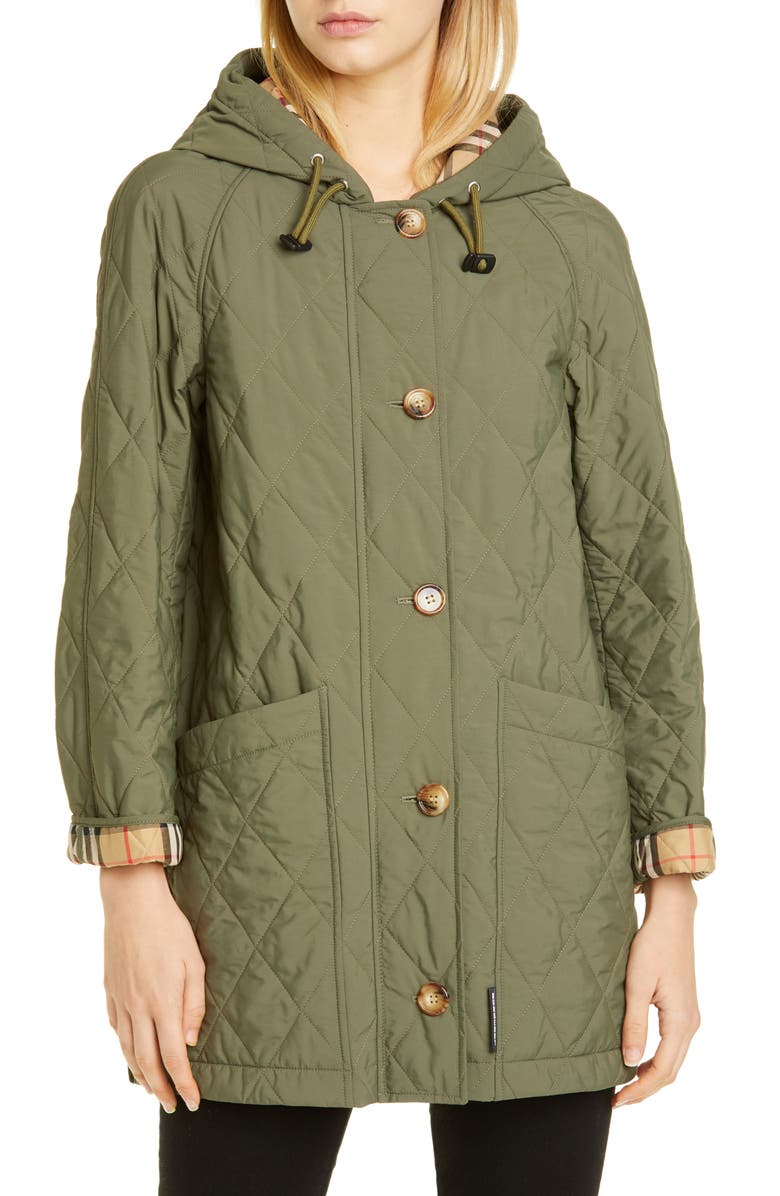 BURBERRY Roxwell Vintage Check Hood Thermoregulated Quilted Coat, Main, color, POPLAR GREEN