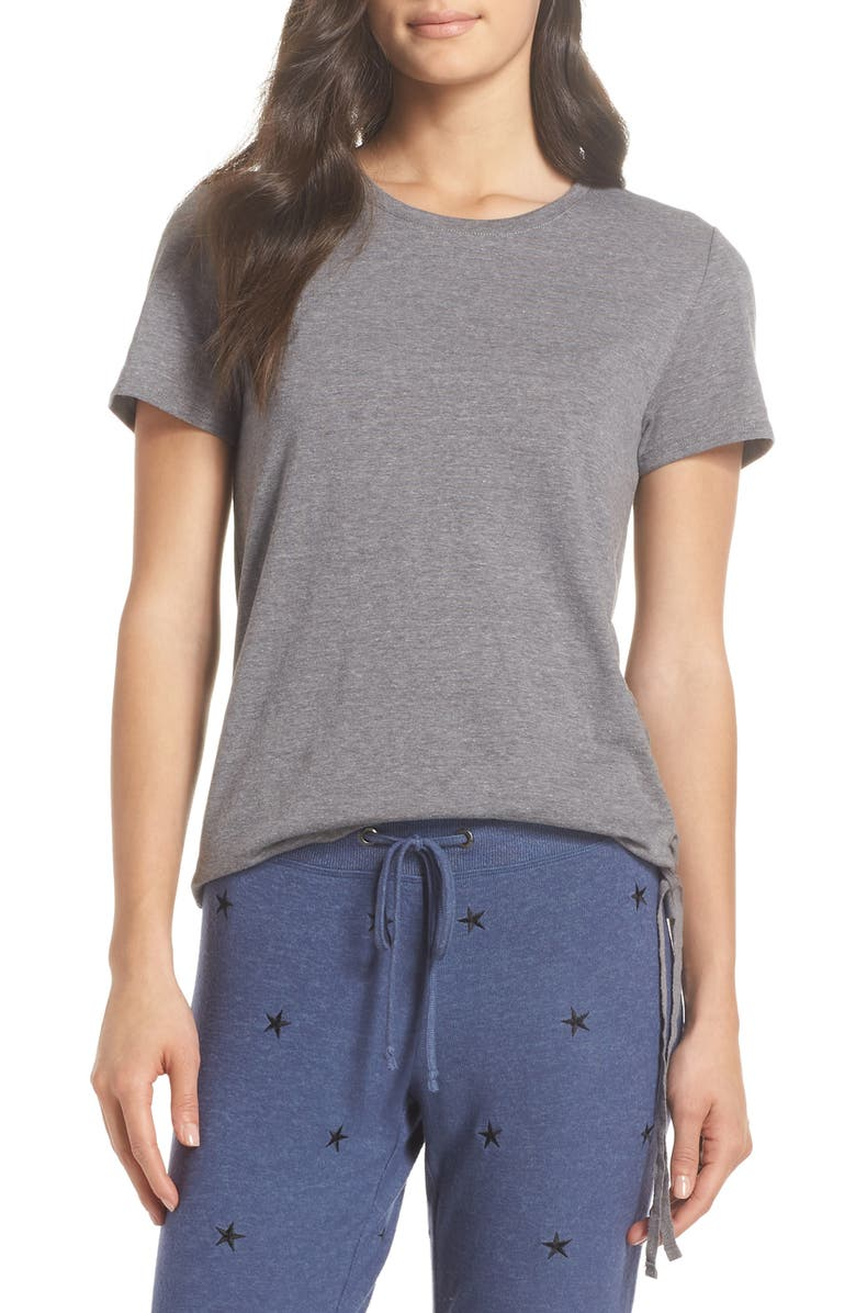 MAKE + MODEL Lace-Up Side-Tie Tee, Main, color, GREY PAVEMENT
