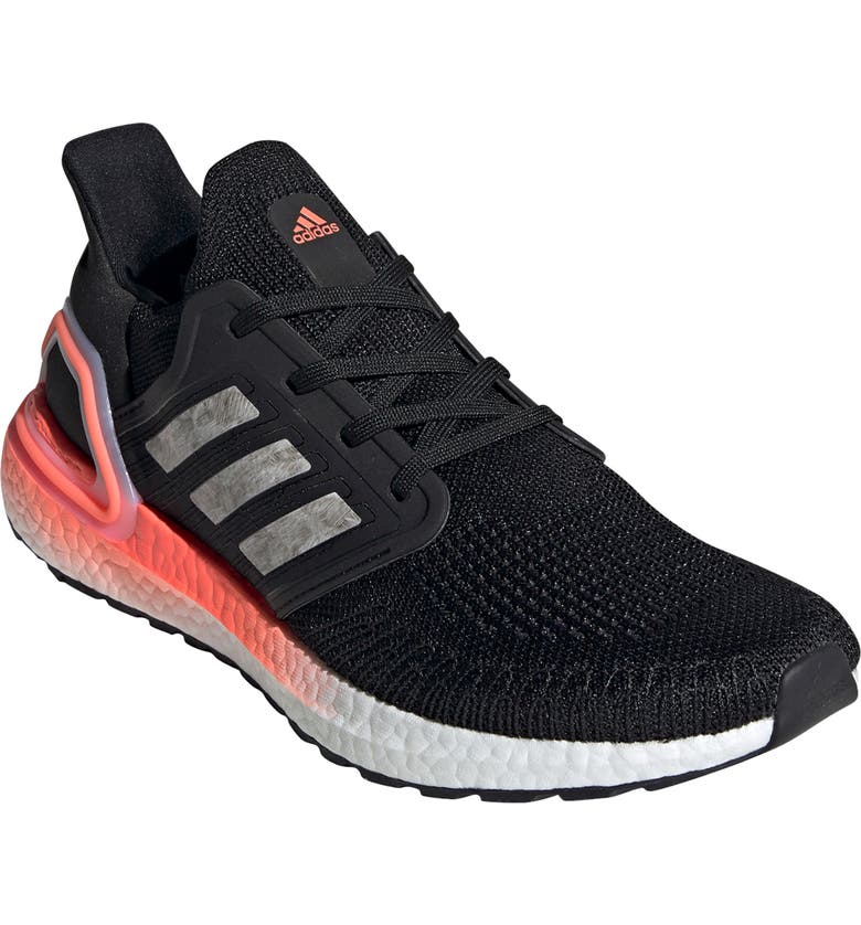 ADIDAS UltraBoost 20 Running Shoe, Main, color, CORE BLACK/ WHITE/ CORAL