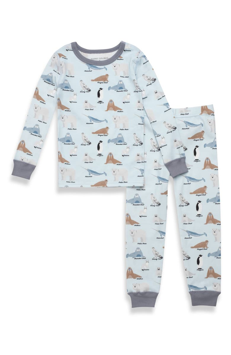 PAJAMAS FOR PEACE Kids' Arctic Animals Fitted Two-Piece Pajamas, Main, color, Blue