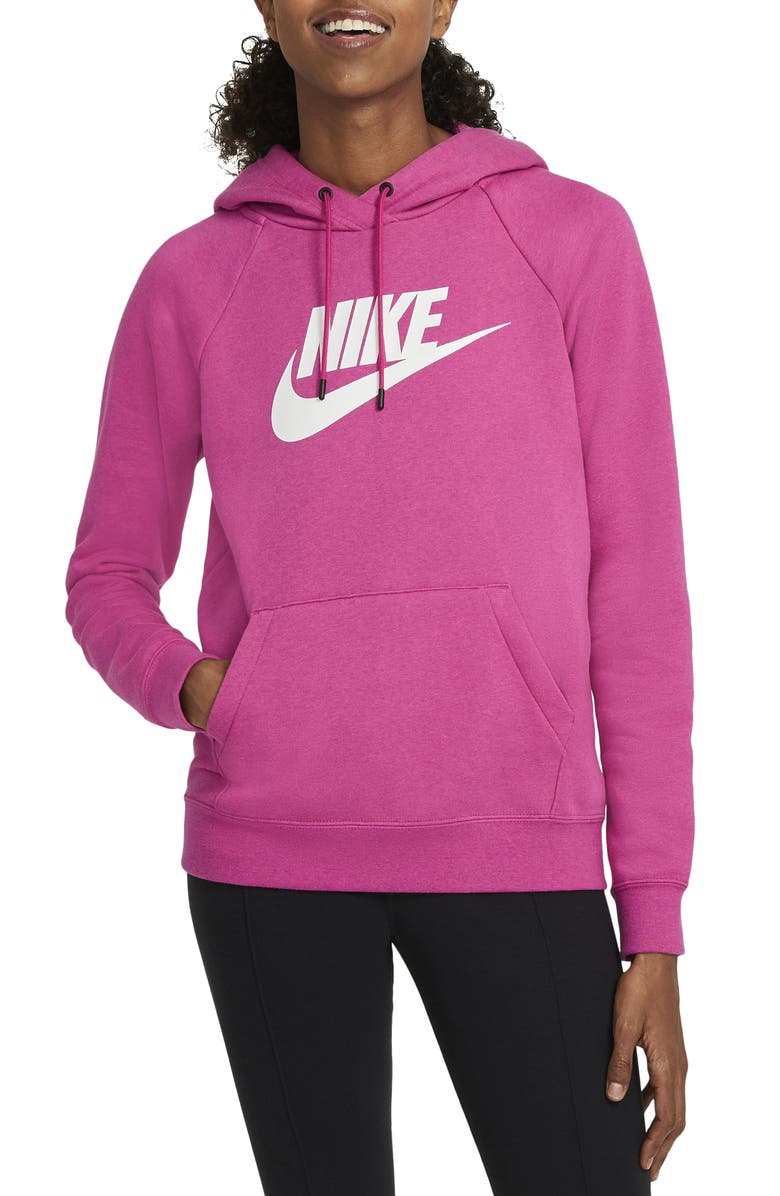 NIKE Sportswear Essential Pullover Hoodie, Main, color, FIREBERRY/ HEATHER/ WHITE