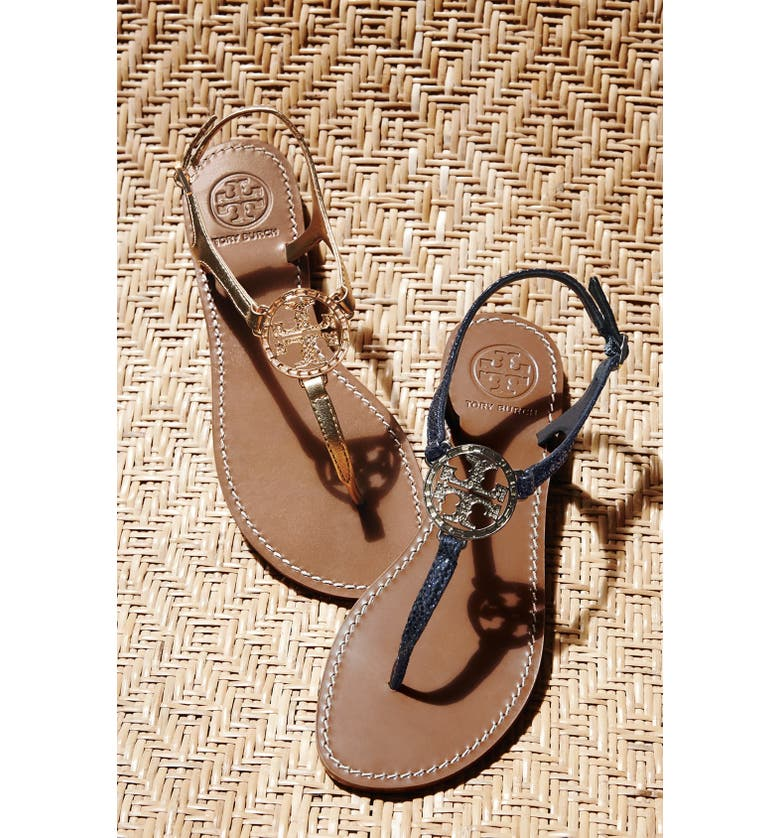 TORY BURCH 'Violet' Metallic Leather Thong Sandal, Main, color, 033