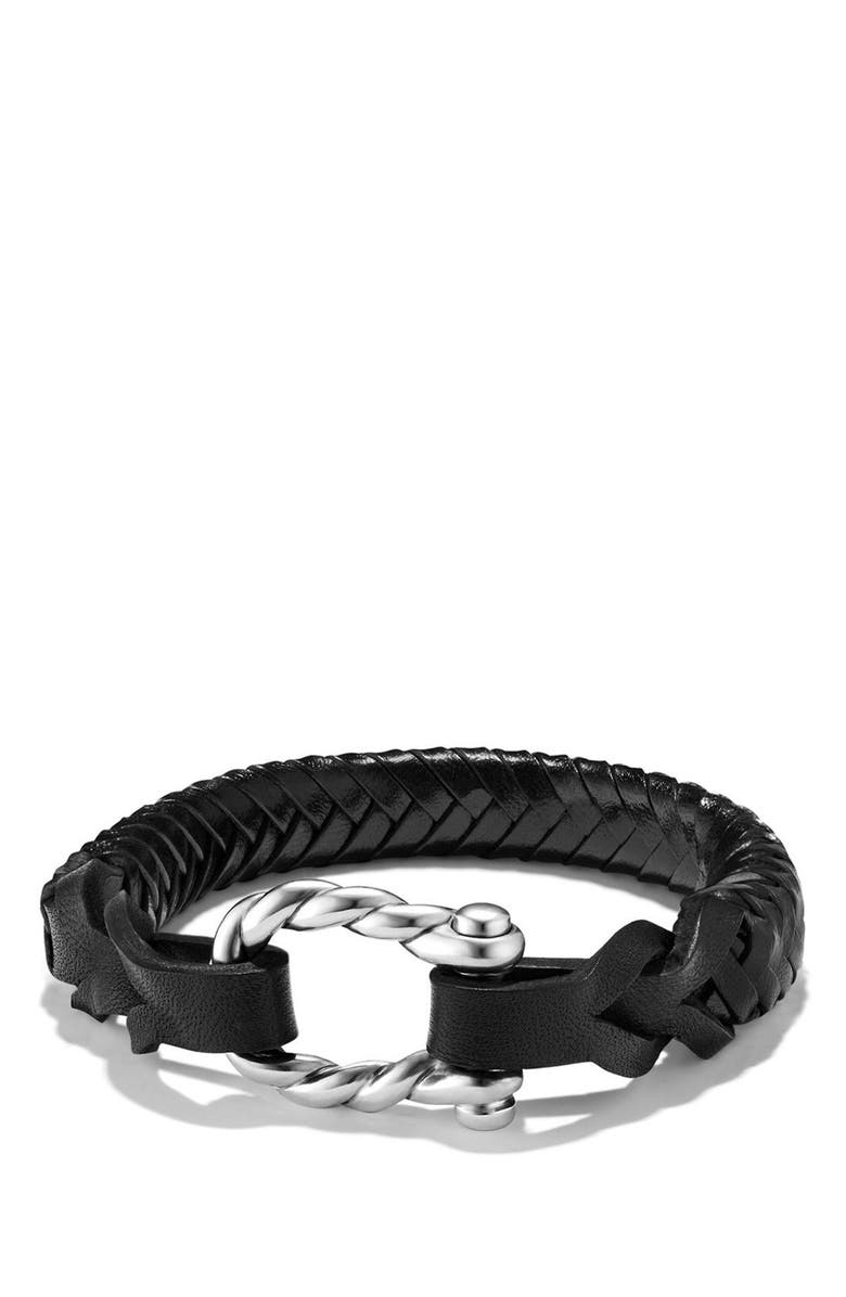 DAVID YURMAN Maritime Leather Woven Shackle Bracelet, Main, color, 040