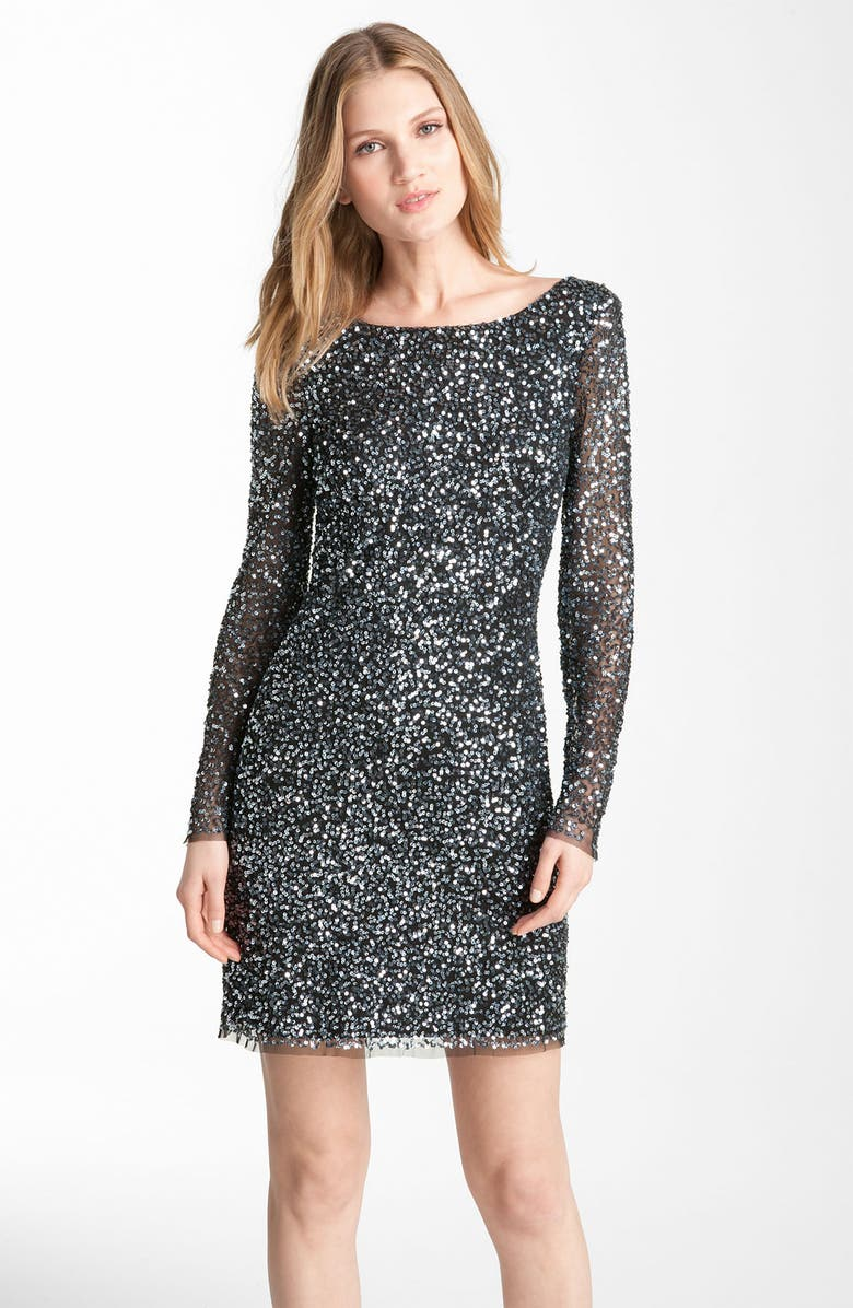 ADRIANNA PAPELL Sequin Shift Dress, Main, color, 011
